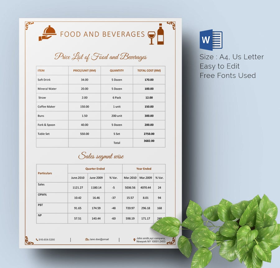 Nice Food U0026 Beverages Price List Template