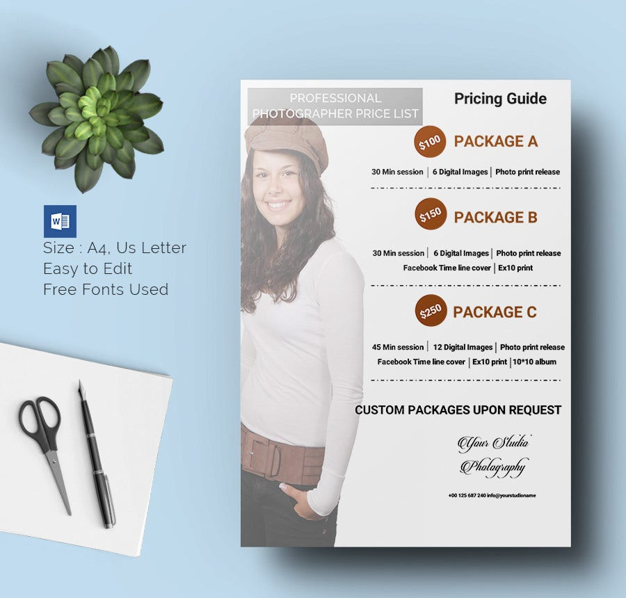 Price List Templates DOC PDF Excel PSD Free Premium - Free pricing template for photographers