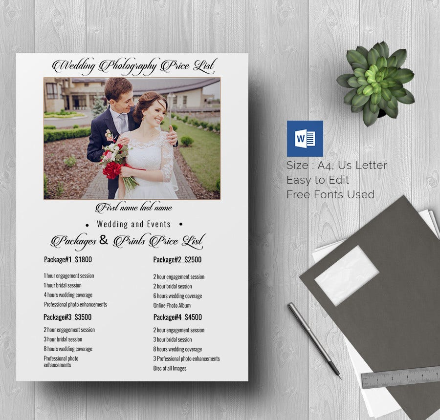 Price List Template Free Word Excel PDF PSD Format - Price list brochure template