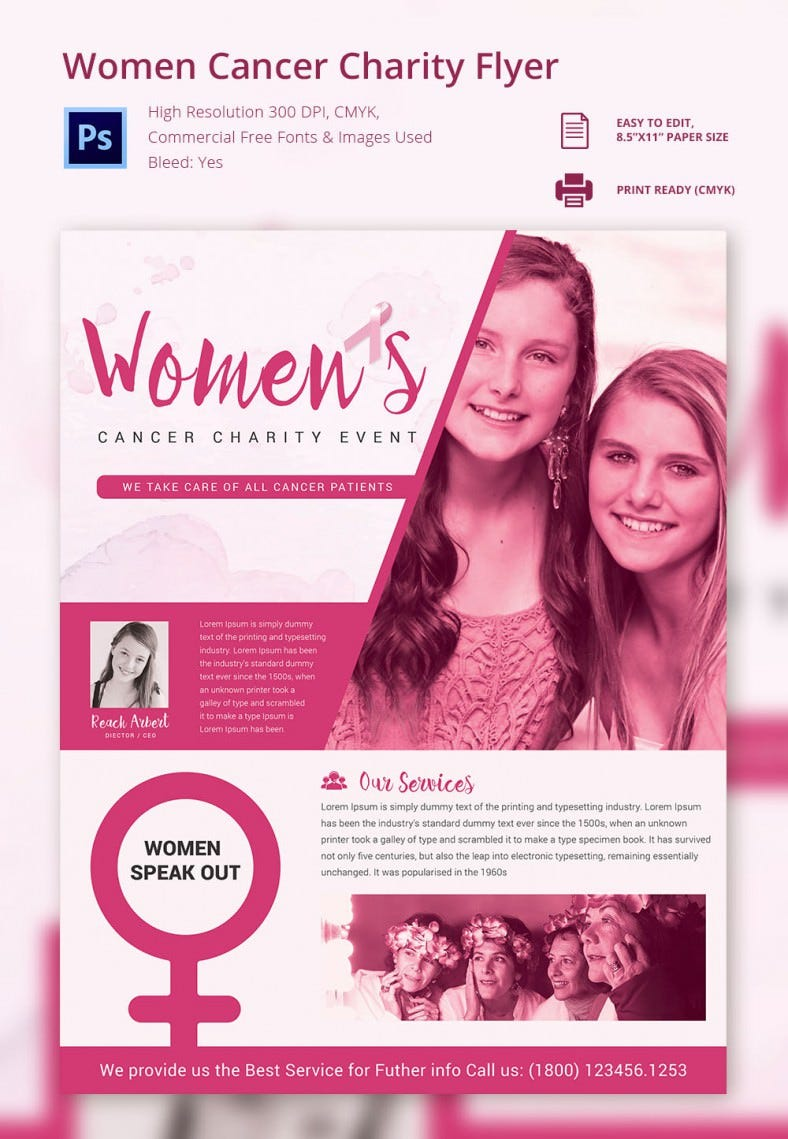 fundraiser flyer psd eps ai format women cancer charity flyer template