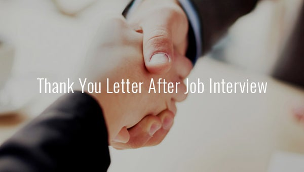 thank you letter after job interview