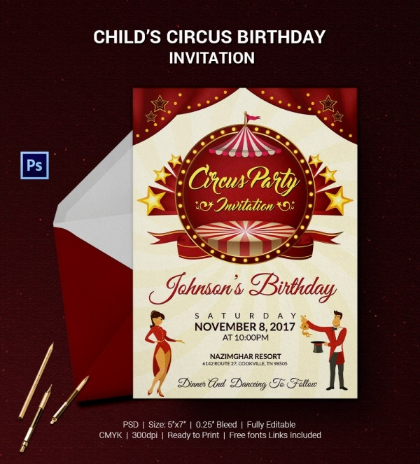child%e2%80%99s circus birthday invitation