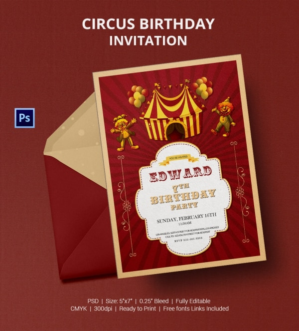 Big Circus Birthday Party Invitation