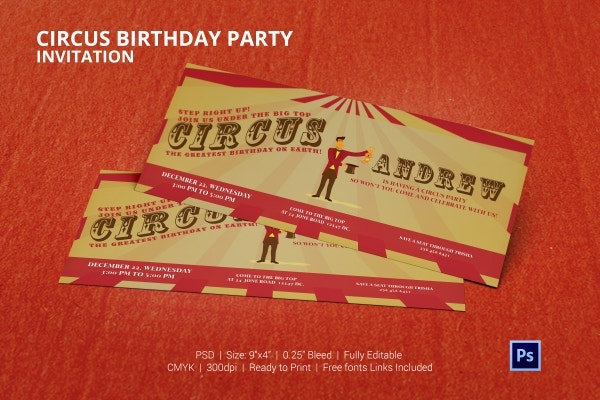 Birthday Party Circus Invitation Template