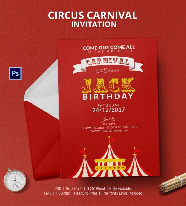 Premium Circus Carnival Invitation Card