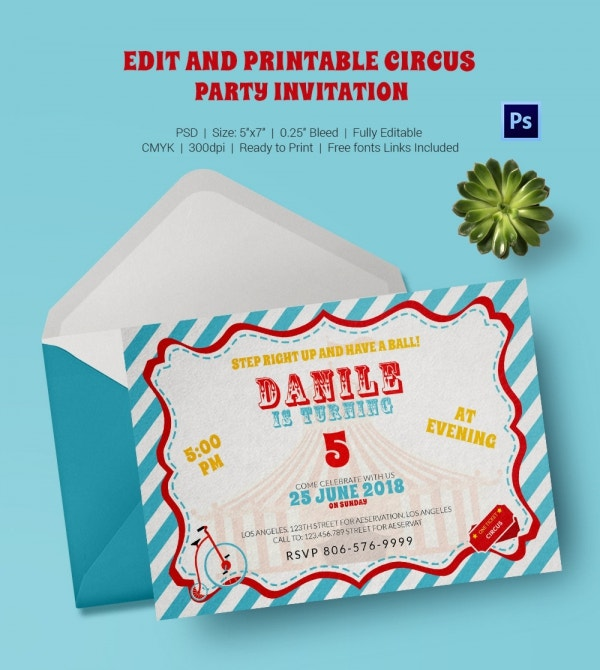 Circus Party Invitation Template 23 Free JPG PSD Format – Free Printable Carnival Birthday Invitations