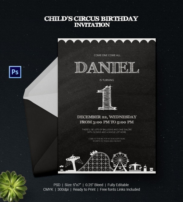 Circus Invitation for Child Birthday