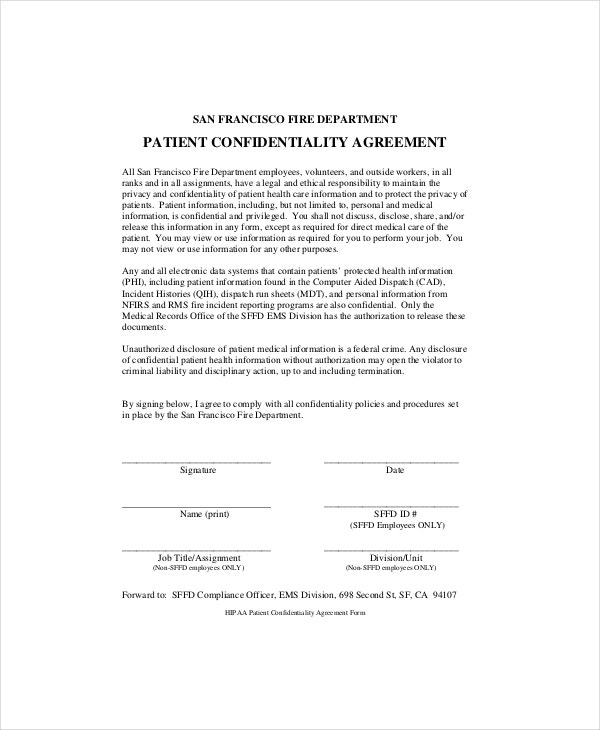 Example Generic Patient Confidentiality Agreement