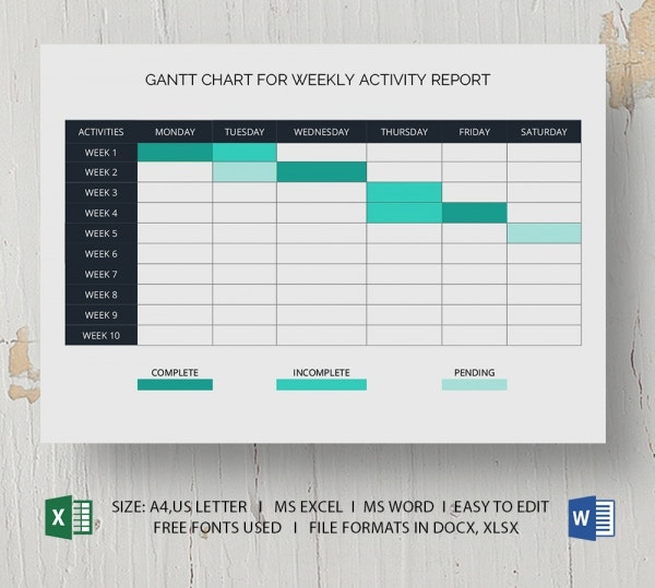 Gantt Chart for Weekly Activity Report