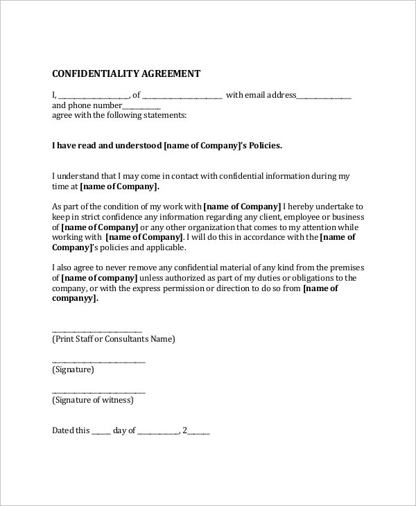 confidential agreement sample