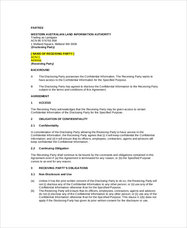 8 Standard Confidentiality Agreement Templates Free Sample – Standard Confidentiality Agreement