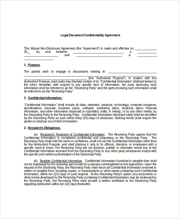 9+ Legal Confidentiality Agreement Templates – Free Sample