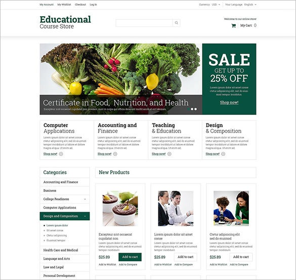 white background responsive educational courses magento theme