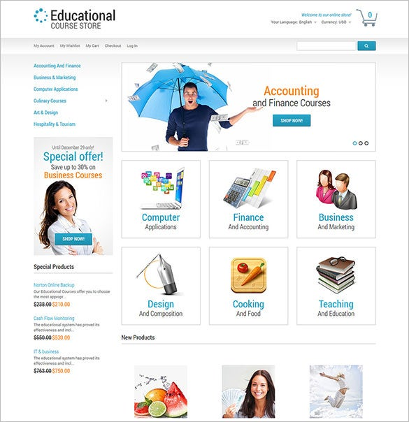 beautiful education responsive magento theme