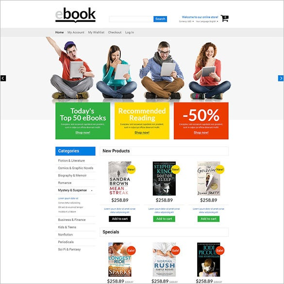 excellent admin panel e books educational magento theme
