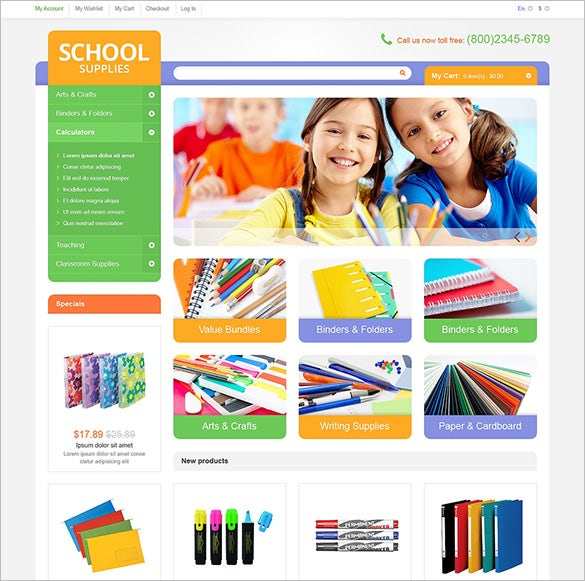 minimal seo optimized educational school supplies magento theme