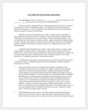 Law Firm Non Disclosure and Confidentiality Agreement