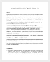 Standard Confidentiality Agreement for Commercial or Trading Information
