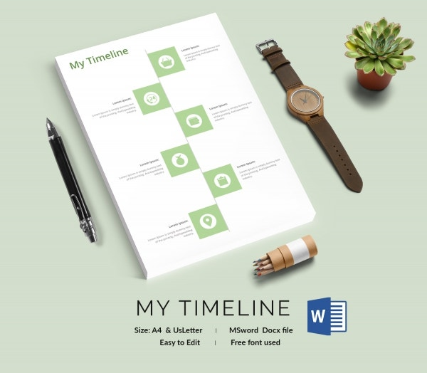 Blank Timeline Template 30 Free PSD Word POT PDF Documents – Personal Timeline Template