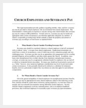 Church Confidentiality Agreement Employees and Severance Pay