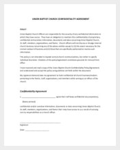 Church Confidentiality Agreement for Church Business