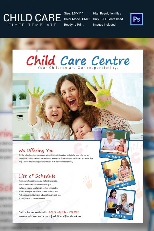 Smart image inside free printable daycare flyers