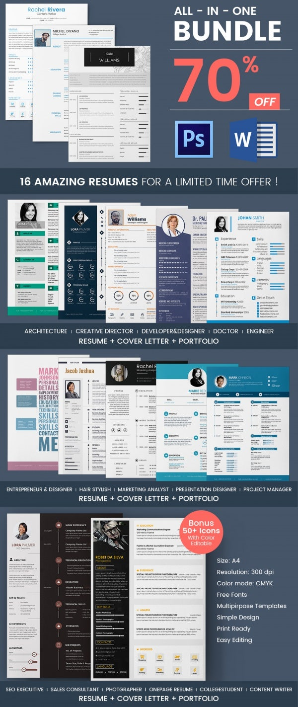 16 resume bundle - Creative Resumes Templates Free
