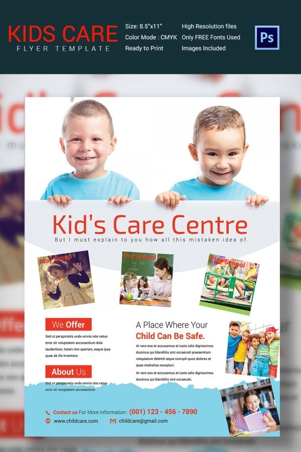 Tear Sheet Full Color Babysitting Day Care Flyer