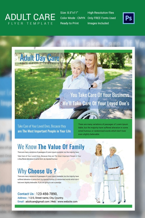 Special Adult Care Flyer Template