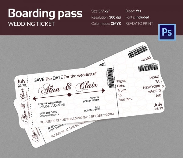 Boarding pass invitation template 36 free psd format for Free electronic save the date templates