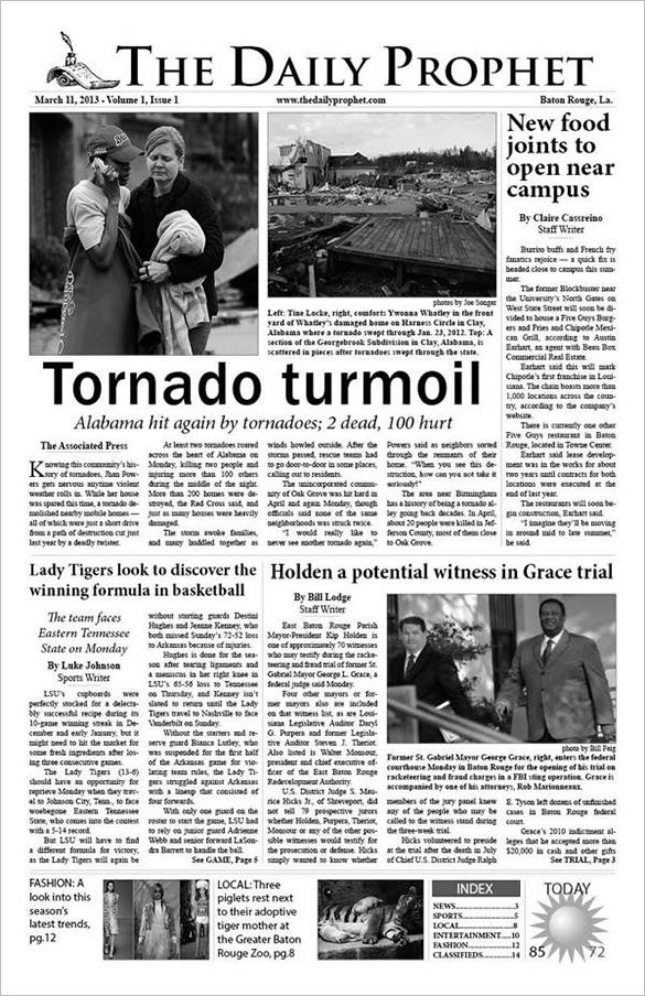 Newspaper Layout Template Second Page From The Paper Free Newspaper