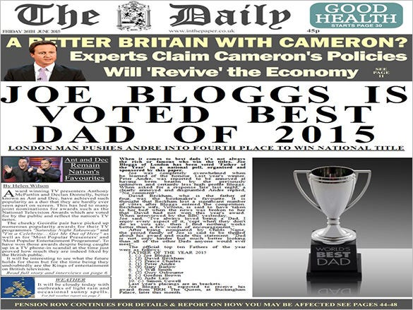 Sample Newspaper Template 9 Free EPS Format Download – Newspaper Front Page Template