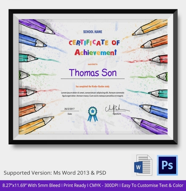 Preschool Certificate of AchievementTemplate