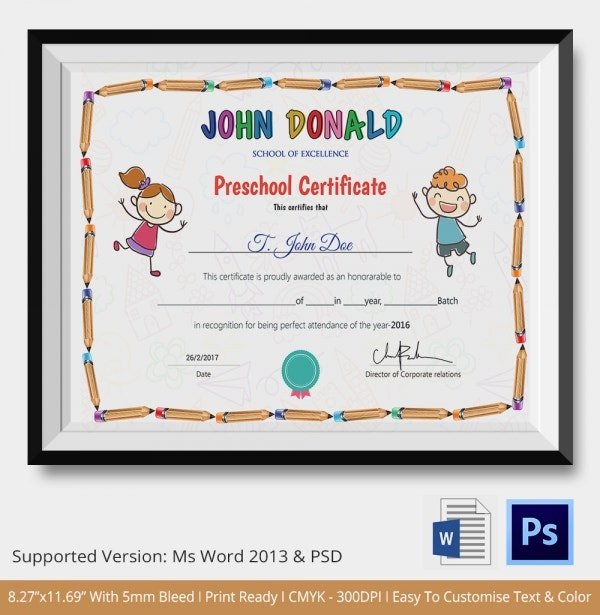 Preschool Excellence Certificate Template