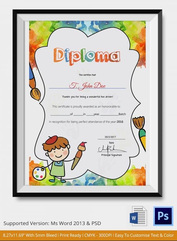 graduation certificates for kindergarten