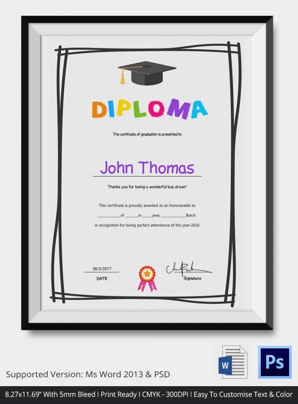 Kindergarten completion certificates award recognition diploma 1000 yelopaper Choice Image