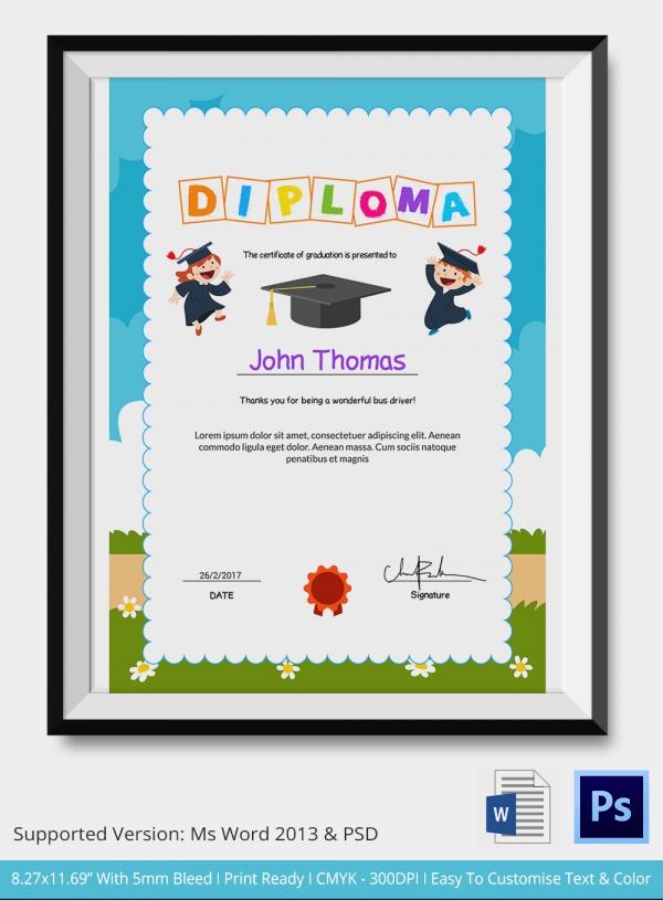 Preschool Certificate Template - 18+ Free Word, PDF PSD ...