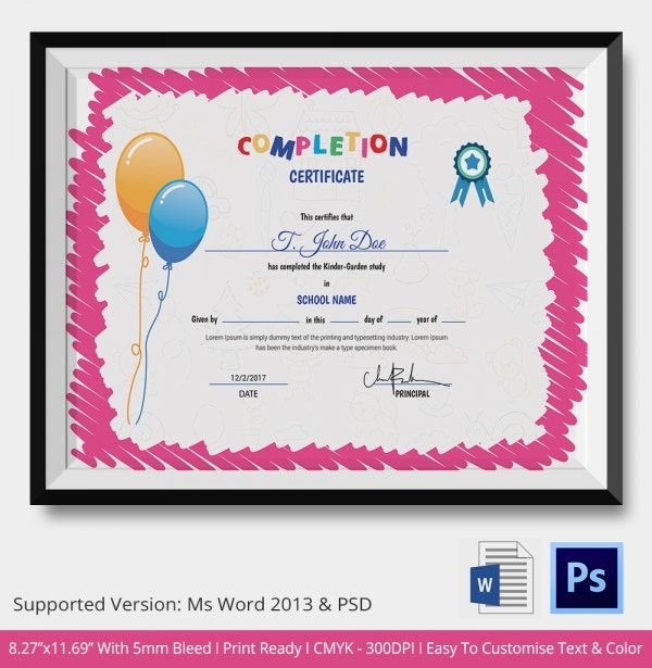 Sample certificate of completion for kinder images certificate sample certificate of completion for kindergarten images sample certificate of completion for kindergarten image sample certificate yadclub Image collections