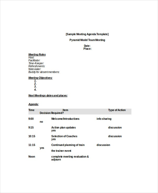 business staff meeting agenda format