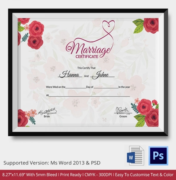This is a photo of Modest Marriage Certificate Template Word