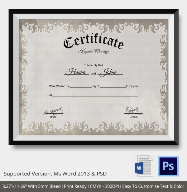 Keepsake Marriage Certificate Format Download