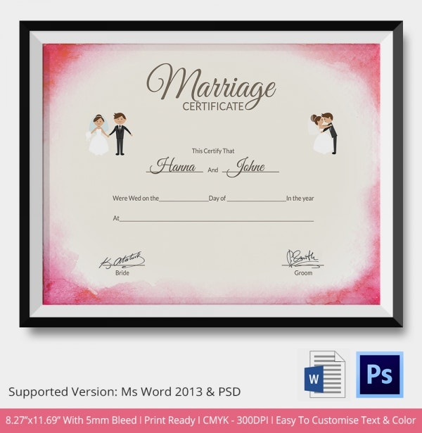 Marriage Certificate Template   Free Word Pdf Psd Format