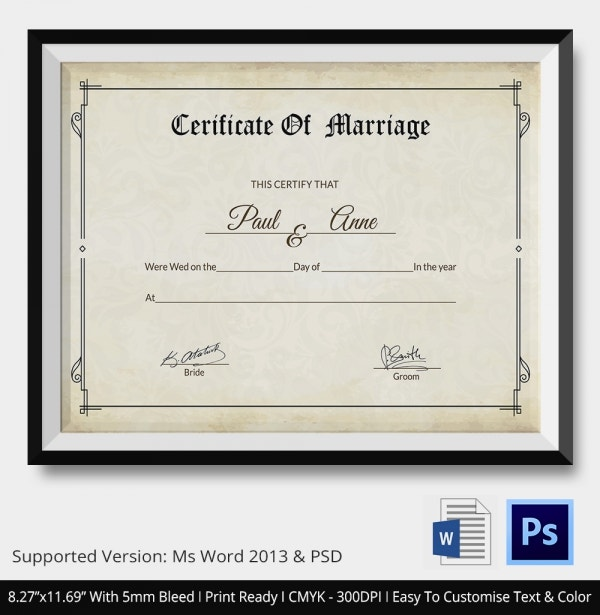 Marriage Certificate Template Download