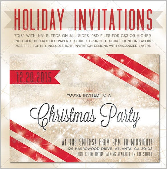 holiday invitations template with decorated for christmas