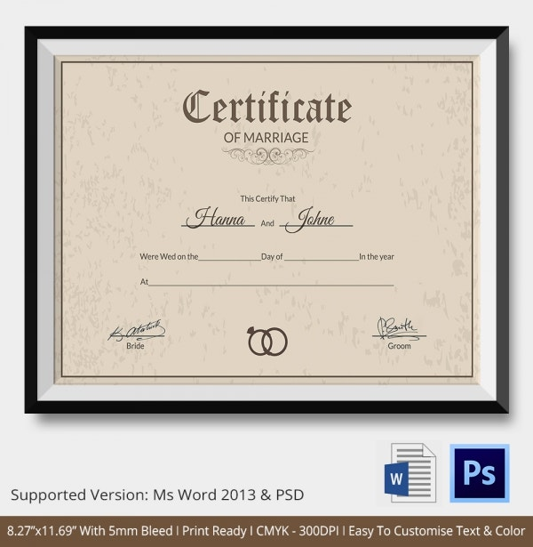 Printable Marriage Certifice