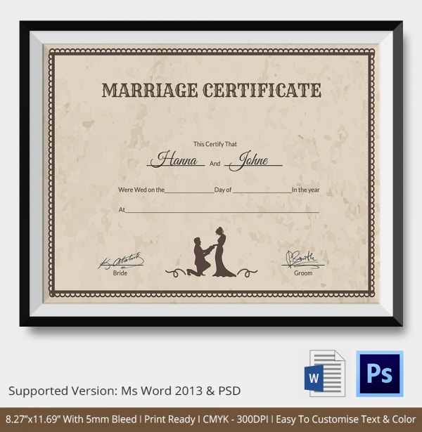 This is an image of Juicy Free Marriage Certificate Template Word