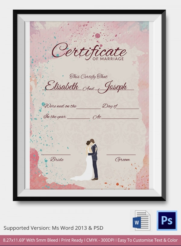 Marriage Certificate Template 12 Free Word PDF PSD Format – Download Certificate Templates