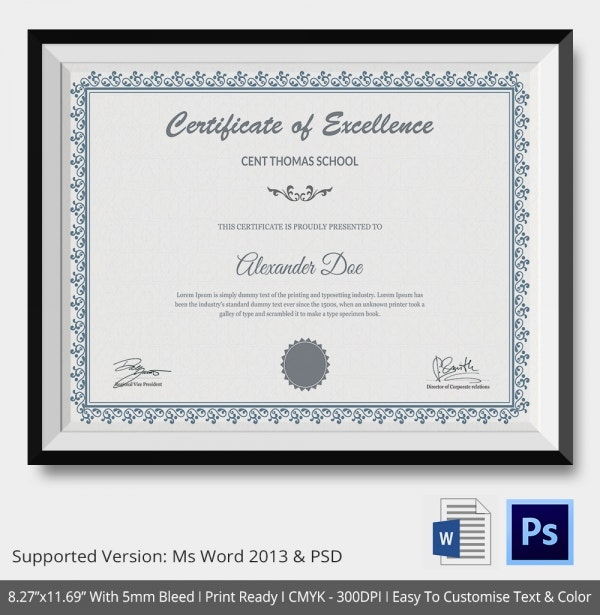 School Certificate Template 17 Free Word PSD Format Download – School Certificate Format