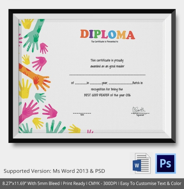 School Certificate Template 17 Free Word PSD Format Download – Certificate Template for Kids