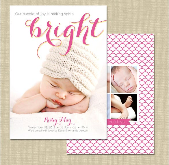 holiday birth announcement photoshop card template